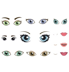 Set of different human eyes eyebrows noses and vector
