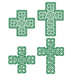 Celtic cross - set of traditional green designs vector