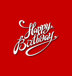 Happy birthday lettering template red background vector