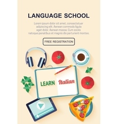 Flat design web banner for italian language school vector