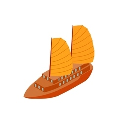 Junk boat icon isometric 3d style vector