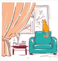 Red cat watching birds near the windowInterior vector image
