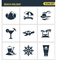 Icons set premium quality of beach holiday diving vector