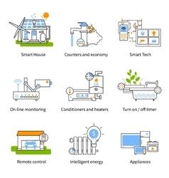Smart house concept icon set vector