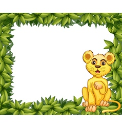 A yellow tiger in a leafy frame vector image