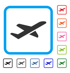 airplane takeoff framed icon vector image vector image