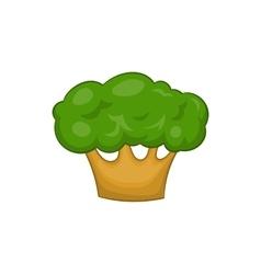 Big green tree icon in cartoon style vector