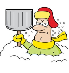 Cartoon man buried in snow vector image