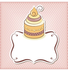 Cute cupcake frame vector image vector image