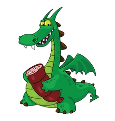 dragon with sausage vector image