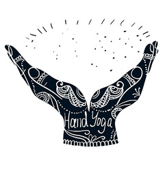 Element yoga mudra hands with mehndi patterns vector
