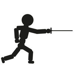 Fencing man sign black icon vector