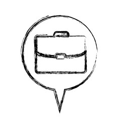 Figure round chat bubble with briefcase inside vector