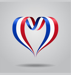 french flag heart-shaped ribbon vector image