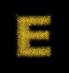 gold dust font type letter e vector image vector image
