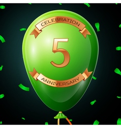 Green balloon with golden inscription five years vector