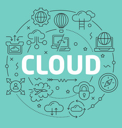 green line flat circle cloud vector image vector image