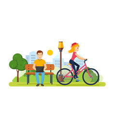 Guy running on freelance girl rides bicycle vector