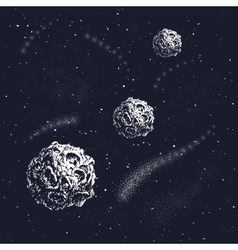 Hand drawn style set of galactic objects vector