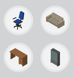 Isometric design set of table couch sideboard vector