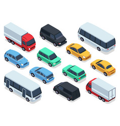 isometric vehicles and cars for 3d city traffic vector image vector image