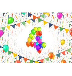 Number four made up from colorful balloons on vector