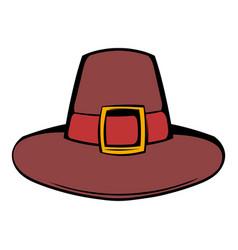 Pilgrim hat icon cartoon vector