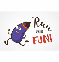 poster of funny running eggplant vector image vector image