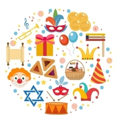 Purim icons set in round shape isolated on white vector