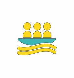 Rafting kayaking team design vector