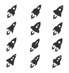 rocket icon flat style set vector image