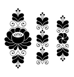 russian folk art pattern - floral long stripes vector image vector image