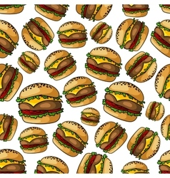 Seamless grilled cheeseburgers pattern background vector