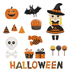 Set of character and icons for halloween in cartoo vector