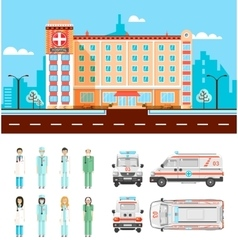 Street with polyclinic vector image