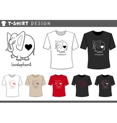 T shirt with elephant in love vector
