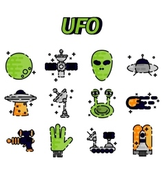 UFO flat icon set vector image vector image