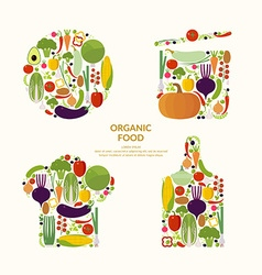 Vegetables organic food elements and icons for vector