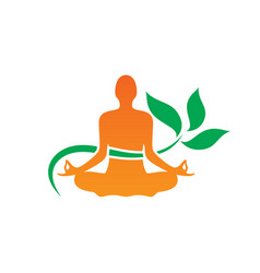 Yoga meditaion leaf logo vector