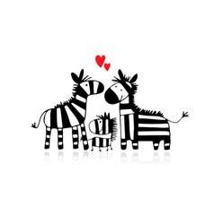 Zebra family sketch for your design vector