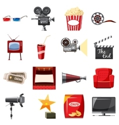 Cinema icons set in cartoon style vector image
