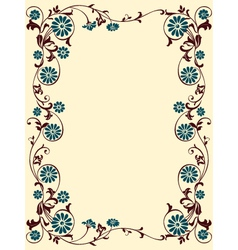 Floral frame blue brown vector