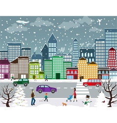 Winter urban landscape vector
