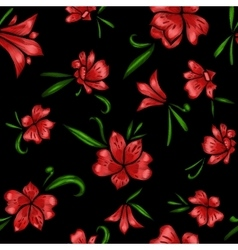 Floral seamless pattern the effect of embroidery vector