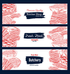fresh meat sketch banner for butchery shop design vector image