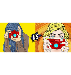 Comic book pop art with girl movie vector