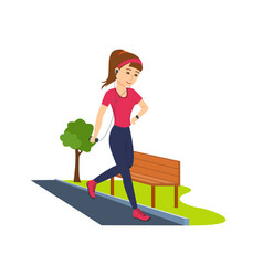 Girl is engaged on athletics running in park vector
