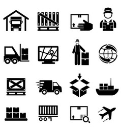 Shipping cargo delivery and warehouse web icons vector
