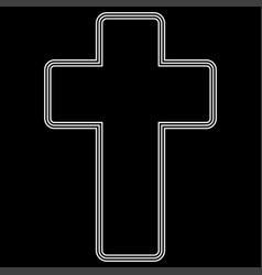 Church cross white color path icon vector