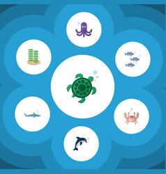 Flat icon marine set of tortoise shark tuna and vector